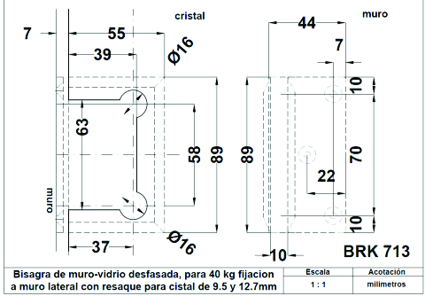 Herrajes de bisagras para ba o herraje brk 713 - Bisagras de doble accion ...